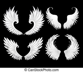 Set of white wings - set of white wings on a black...