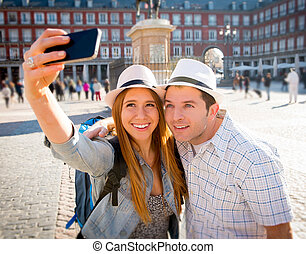 beautiful friends tourist couple visiting Europe in holidays...