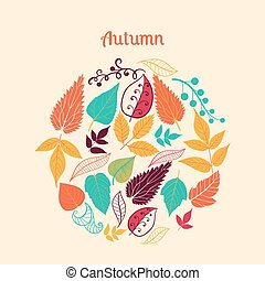 Vector illustration of circle made of leaves. Round shape made of different kinds of leaves.Vintage background. Bright outlines made from leaf things. Lettering