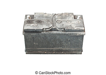 used battery on isolated white background from old car