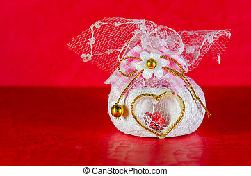 Souvenir Wedding are on red background or Valentines Day