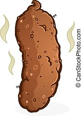 Turd Poop Cartoon - A simple brown turd log of smelly dirty...