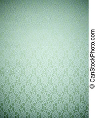 textile background - white lace on green satin as background