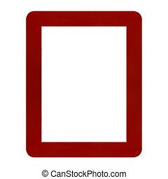 Keret, fehér, elszigetelt, háttér, piros