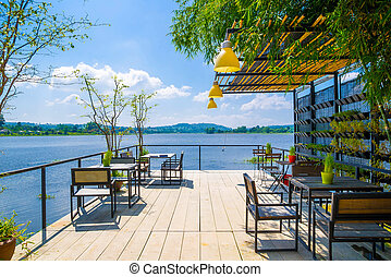 Outdoor restaurant with beautiful view on Lake - Outdoor...