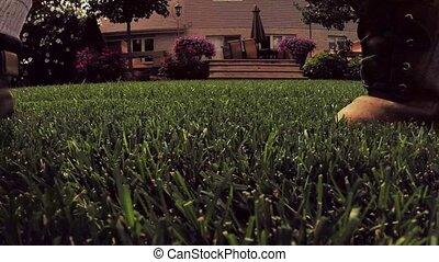 Cutting grass with lawn mower - Yard chores cutting lawn...