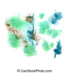 abstract Dark blue, green, brown isolated watercolor stain...