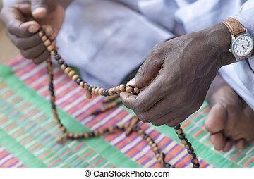 mãos, de, Um, muçulmano, homem, praying, ,