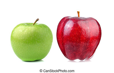 Red and green apple  isolated on white background
