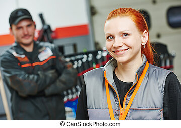 female automobile auto mechanic