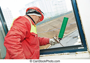 frame insulation at windows installation - construction...