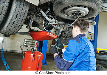auto mechanic disassembling axle - auto repairman mechanic...