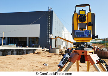 Surveyor equipment at construction site - Surveyor equipment...