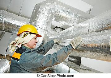 female insulation worker