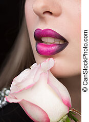 Woman face with lilac Lips and Rose Flower. - Beautiful Sexy...
