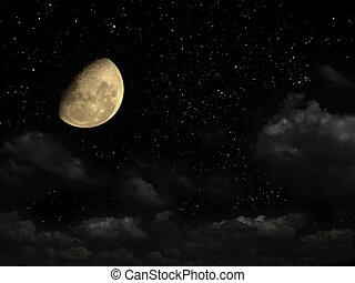 Time of dreams - Night sky with stars, and with a moon. Time...