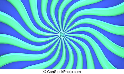 Abstract Green Wave On Blue Background. 3D render Animation....