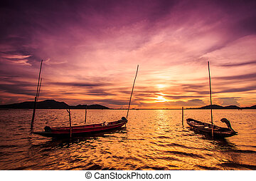 View landscape sunset at sea and boat