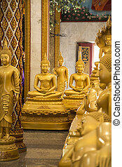 Budda statues inside one of thai temples