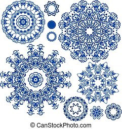 Set of blue floral circle patterns Background in the style...