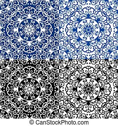 Seamless blue color and black and white floral patterns...