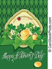 Holiday card with calligraphic words Happy St Patrick`s Day...