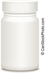 blanco, Medicina, botella, aislado, en, white., vector,