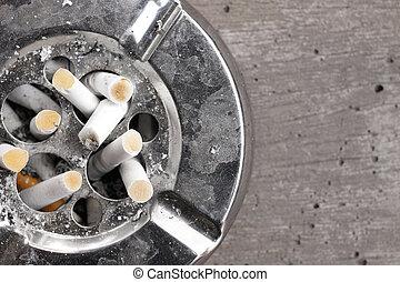 cigarett, med, askkopp,