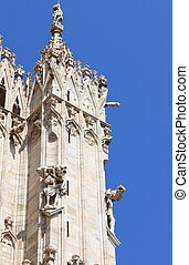 Gothic pinnacles of the Milan cathedral, Italy