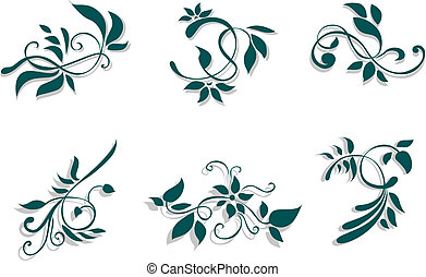Floral decorations isolated on the white background
