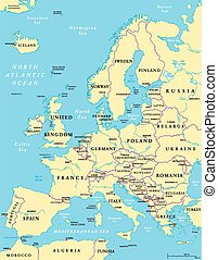Europe Political Map and the surrounding region With...