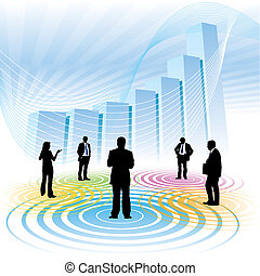 Business meeting - Businesspeople and a large chart in the...