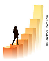 Businesswoman in a hurry, vector illustration