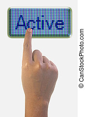Person Pointing the Word ACTIVE
