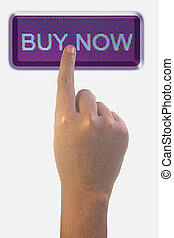 Person Pointing the Word BUY NOW