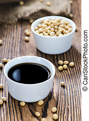 Soy Sauce in a bowl - Soy Sauce in a bowl close-up shot on...