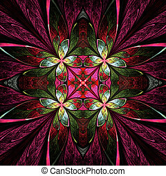 Symmetrical flower pattern in stained-glass window style...