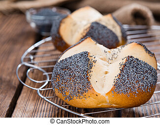 Pretzel Roll with Poppyseed - Fresh baked Pretzel Roll with...