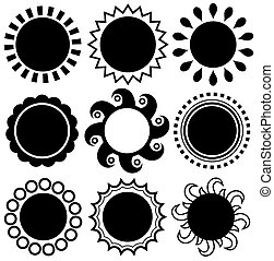 Abstract monochrome sun theme set - eps10 vector...