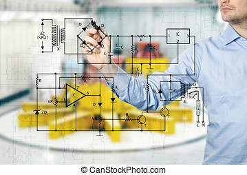 electrical engineer draws a diagram of a circuit. power...