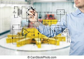 Elétrico, engenheiro, delinear, Um, diagrama, de, Um,...