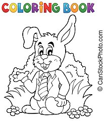 Coloring book Easter rabbit theme 1 - eps10 vector...