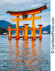The floating Torii Gate, Miyajima island, Hiroshima, Japan