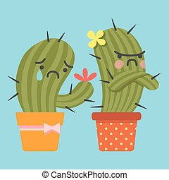 reconcile and loving couple of cactus - crying cactus try to...