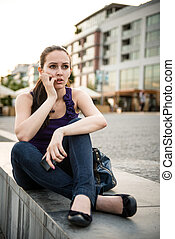 Problems - young woman with phone