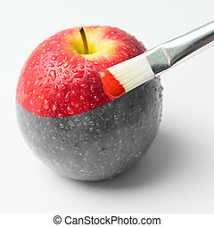 Painting reality - Painting a fresh red apple with...