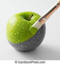 Painting reality - Painting a fresh green apple with...