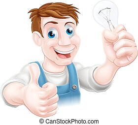 Cartoon electrician - A cartoon electrician holding a...