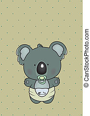 baby koala - sweet little koala in diaper on polka dots...