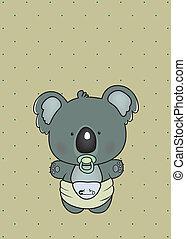 baby koala - sweet little koala in diaper on polka dots...